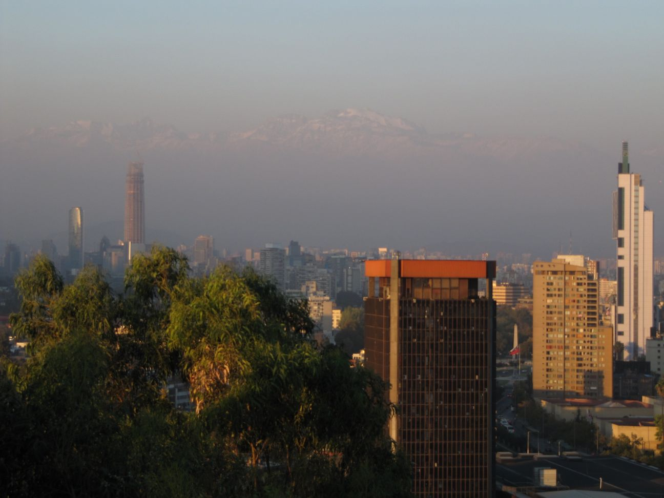 Viewing the Andes from Santiago, Chile